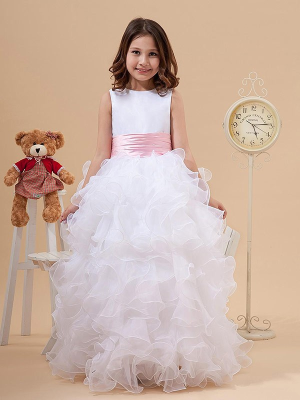 A-Line Organza Scoop Long Flower Girl Dresses with Bowknot