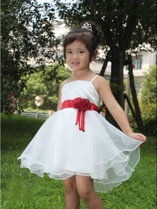 Spaghetti Straps Short/Mini White Flower Girl Dresses