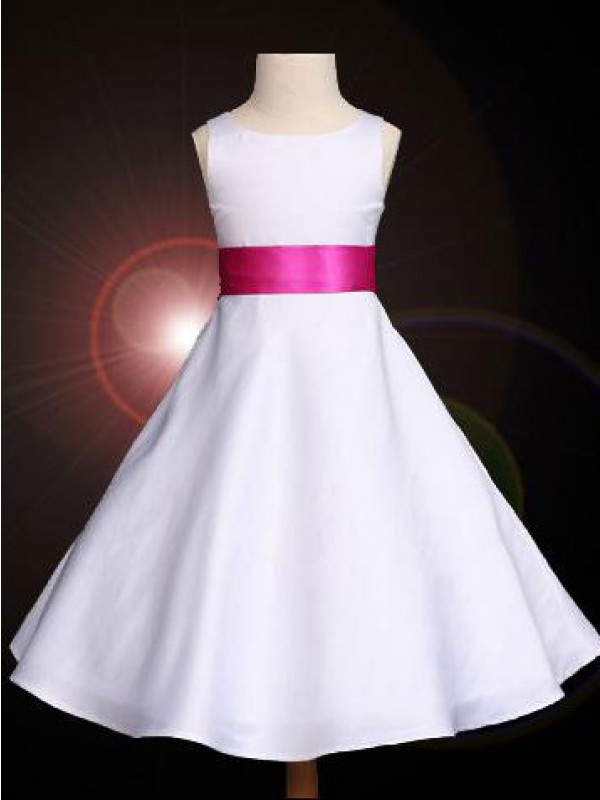 A-Line Satin Scoop Ankle-Length White Flower Girl Dresses