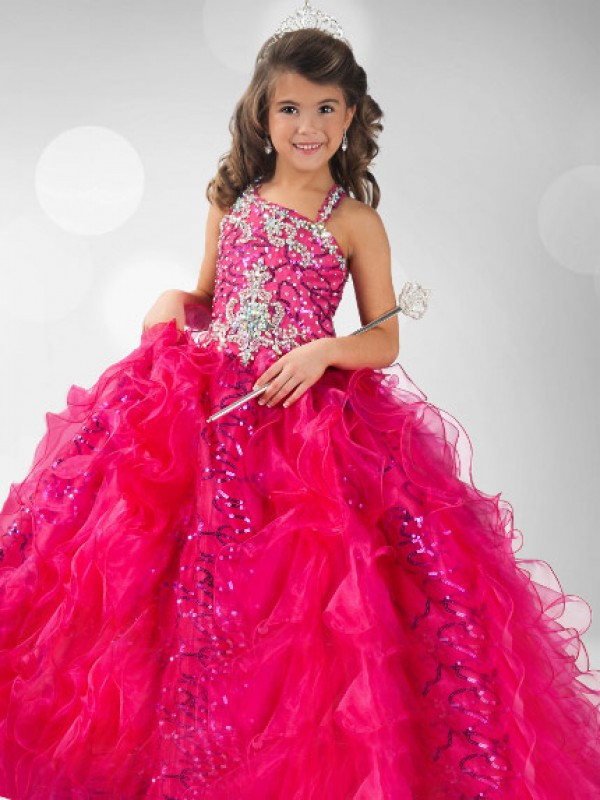 Ball Gown Straps Floor-Length Red Flower Girl Dresses