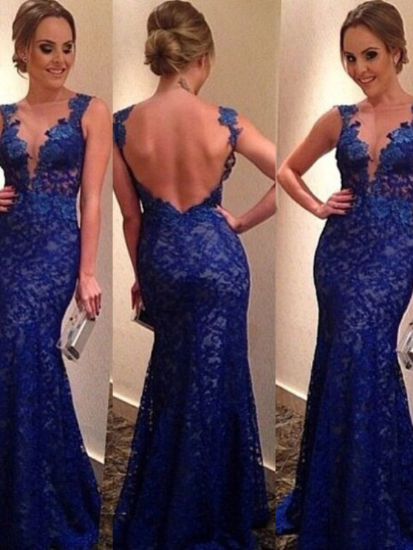 Royal Blue Mermaid V-neck Brush Train Prom Dresses with Applique