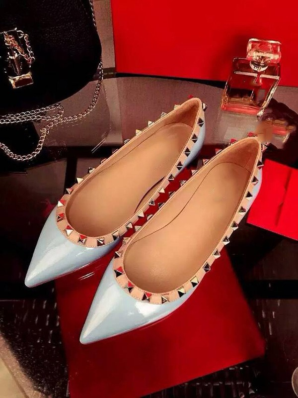 Flat Heel Patent Leather Closed Toe With Rivet Party Casual Flat Shoes