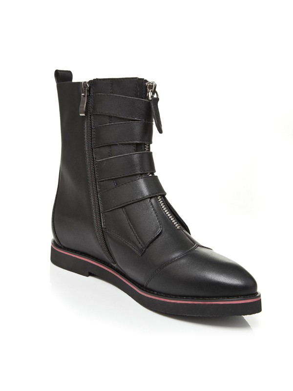Flat Heel Closed Toe Cattlehide Leather With Zipper Mid-Calf Black Boots