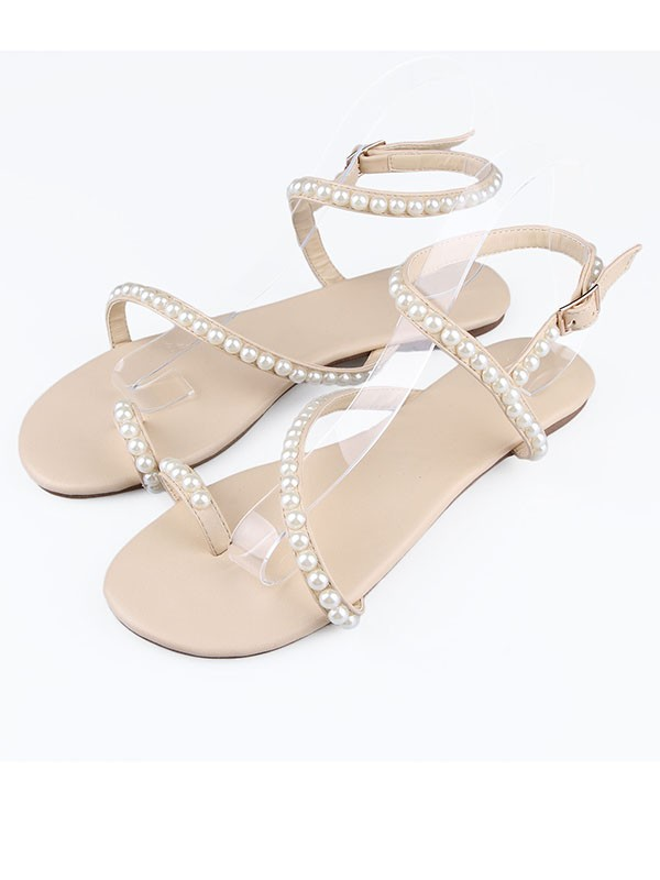 Sheepskin Flat Heel Peep Toe With Buckle Flat Shoes