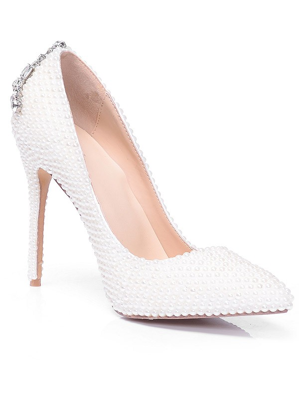Closed Toe Patent Leather Stiletto Heel With Pearl Rhinestone High Heels