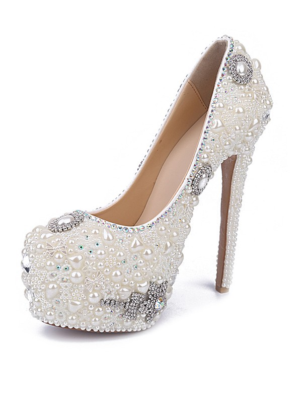 Stiletto Heel Patent Leather Closed Toe With Pearl Rhinestone White Shoes