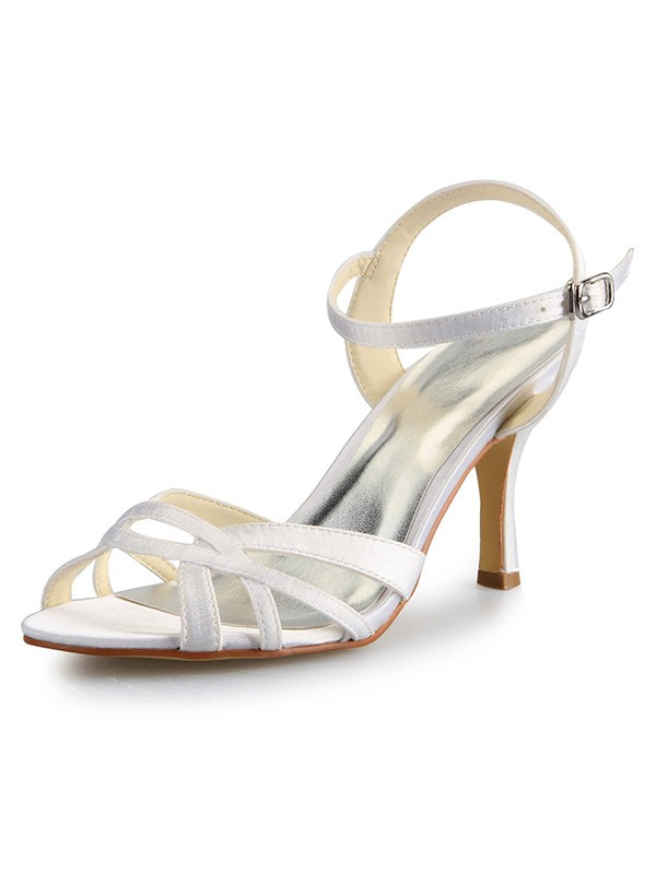Stiletto Heel Peep Toe Satin With Buckle Sandal Dance Shoes