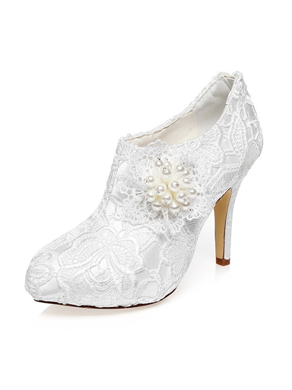 Satin Closed Toe Stiletto Heel Flower Wedding Shoes