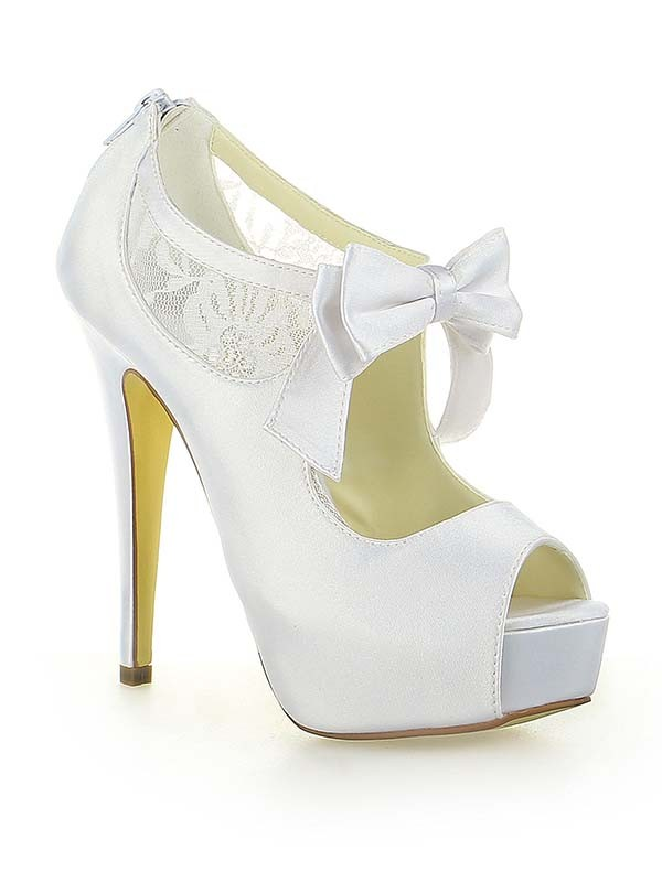 Satin Lace Platform Peep Toe With Bowknot Stiletto Heel White Wedding Shoes
