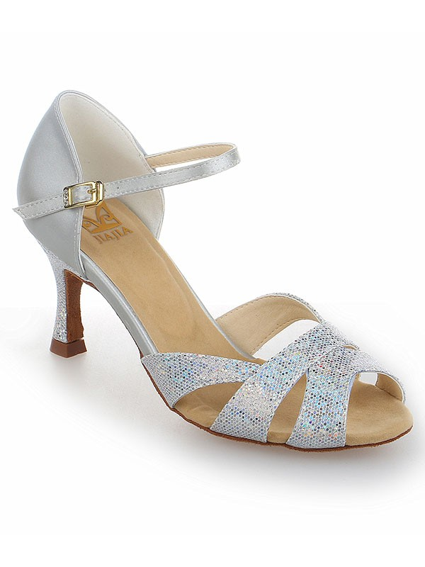 Satin Stiletto Heel Peep Toe With Sparkling Glitter Dance Shoes