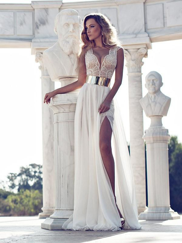 A-Line V-neck Floor-Length White Prom Dresses