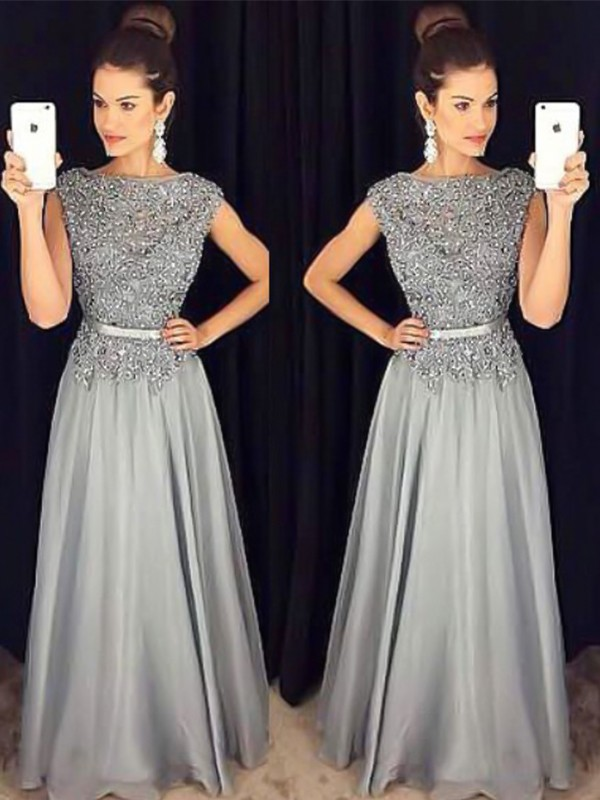 A-Line Bateau Sleeveless Grey Floor-Length Applique Chiffon Prom Dresses