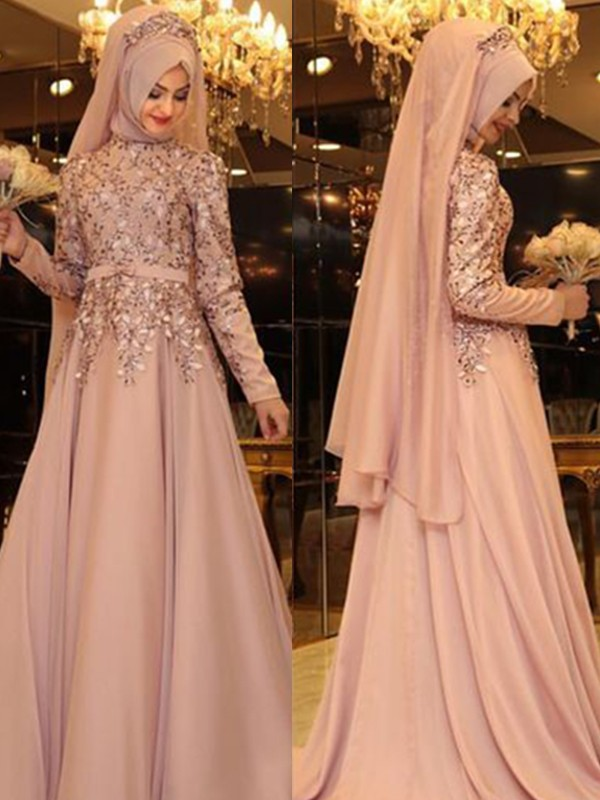 A-Line High Neck Long Sleeves Floor-Length Beading Pearl Pink Chiffon Prom Dresses