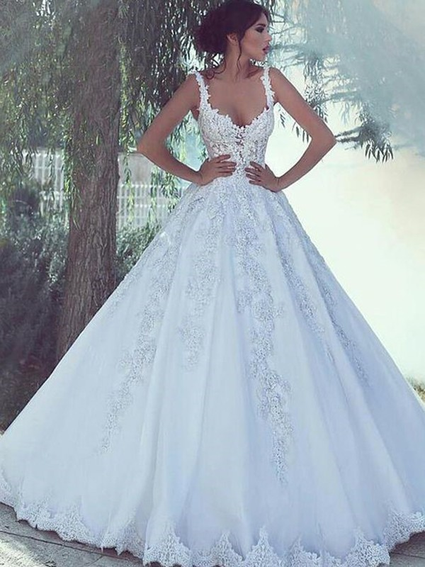 Ball Gown Scoop White Sleeveless Brush Train Lace Satin Wedding Dresses