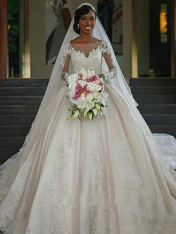 Ball Gown Bateau Ivory Long Sleeves Brush Train Applique Satin Wedding Dresses