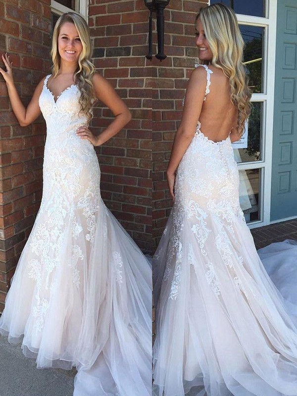 Mermaid V-neck Sleeveless Brush Train Ivory Applique Tulle Wedding Dresses