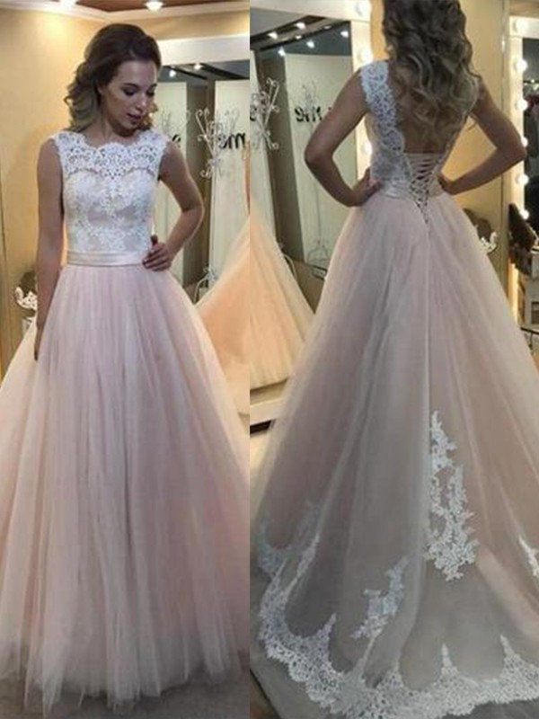 A-Line Pearl Pink Bateau Sleeveless Brush Train Lace Tulle Prom Dresses