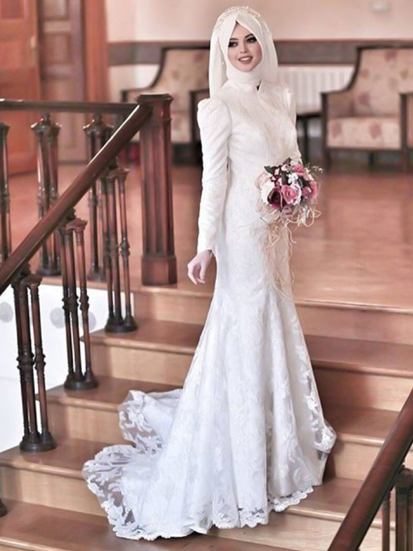 Mermaid High Neck White Long Sleeves Brush Train Lace Tulle Wedding Dresses