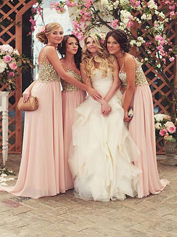 A-Line V-neck Sleeveless Floor-Length Pearl Pink Sequin Chiffon Bridesmaid Dresses
