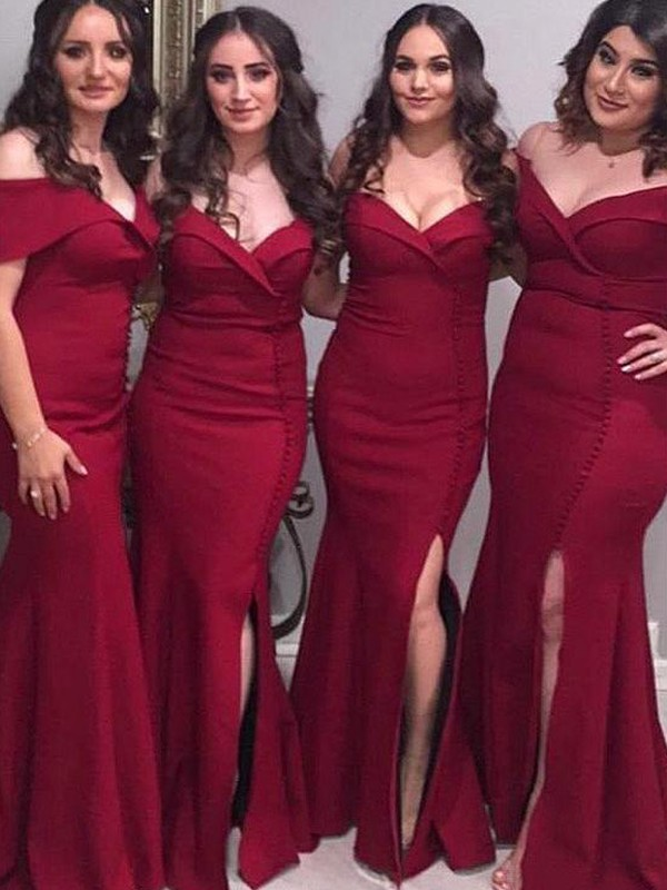 Sheath Off-the-Shoulder Burgundy Sleeveless Floor-Length Satin Bridesmaid Dresses