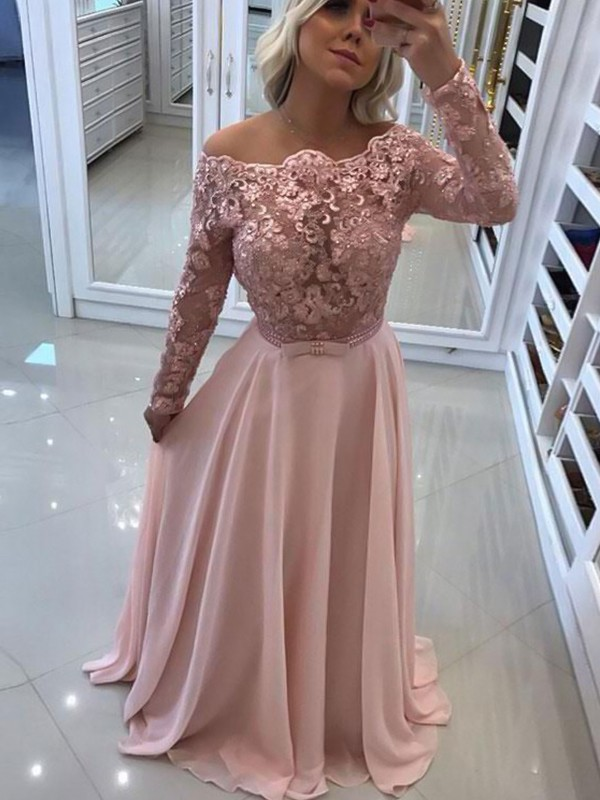 A-Line Bateau Long Sleeves Pearl Pink Floor-Length Lace Chiffon Prom Dresses