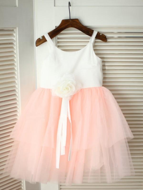 A-Line Spaghetti Straps Tea-Length Pink Flower Girl Dresses