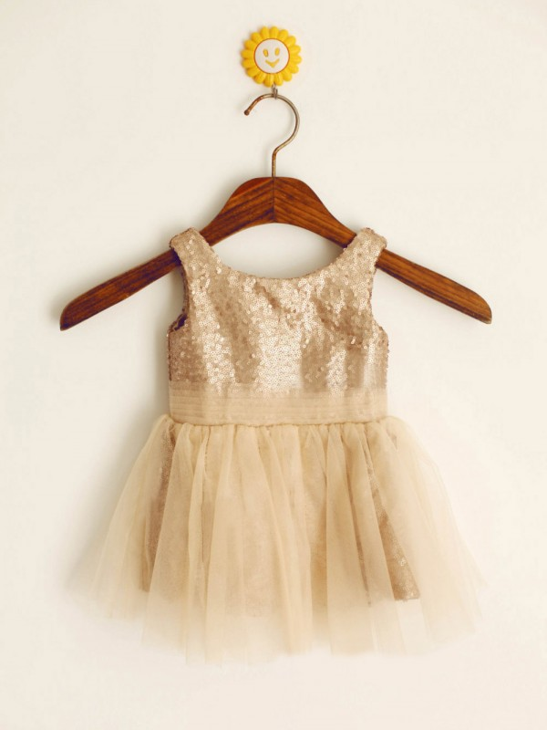A-Line Scoop Long Champagne Flower Girl Dresses with Sequin