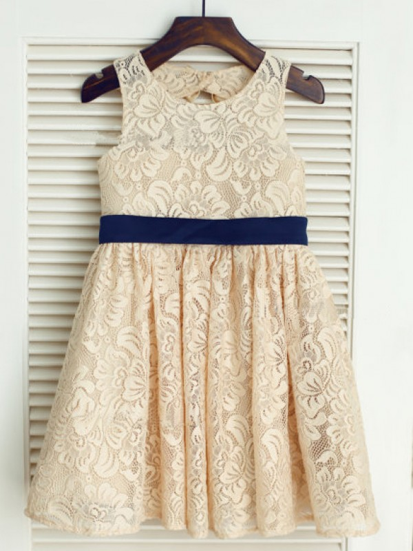 Tea-Length Champagne Scoop Flower Girl Dresses with Bowknot