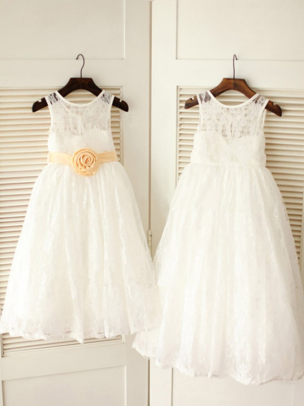 White Scoop Lace Ankle-Length Flower Girl Dresses