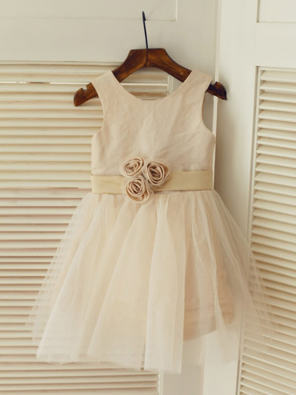A-Line Scoop Long Pearl Pink Flower Girl Dresses with Sash/Ribbon/Belt