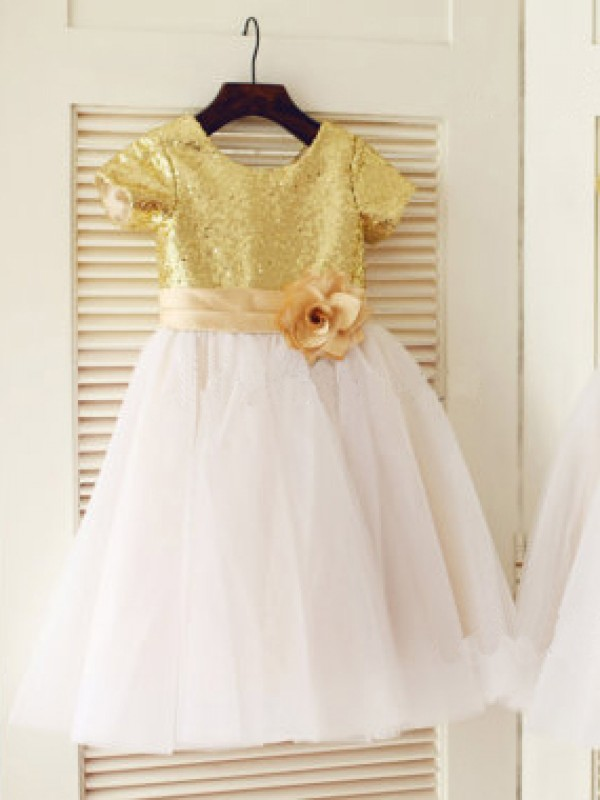 A-Line Scoop Knee-Length Gold Flower Girl Dresses