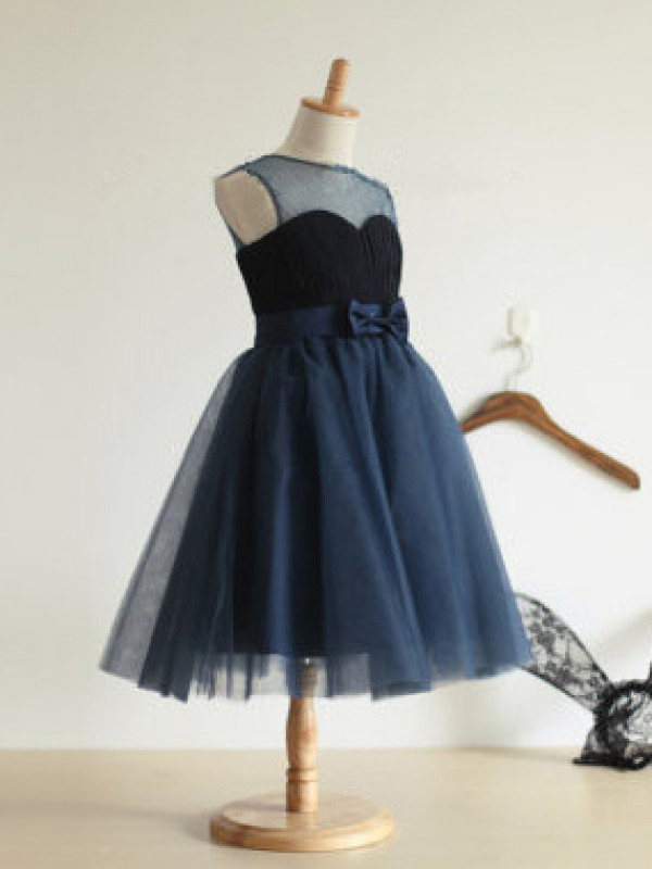 Tulle Jewel Tea-Length Dark Navy Flower Girl Dresses