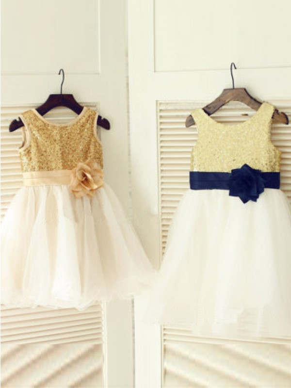 A-Line Scoop Long Champagne Flower Girl Dresses