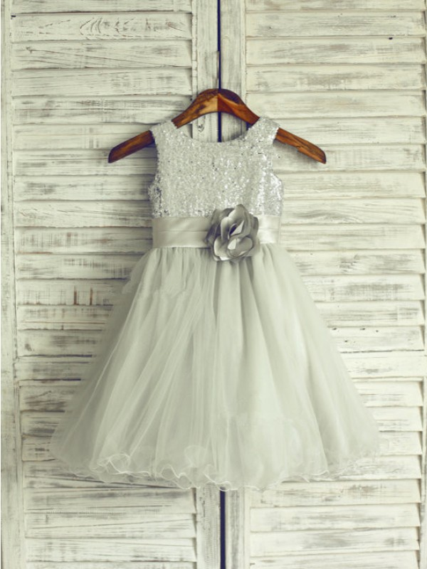 A-Line Scoop Knee-Length Dark Navy Flower Girl Dresses