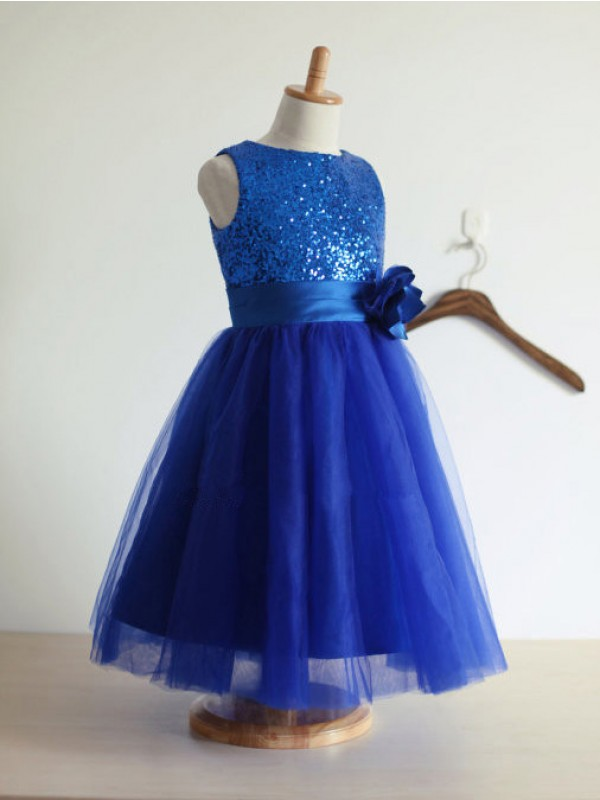 Tulle A-Line Tea-Length Jewel Royal Blue Flower Girl Dresses