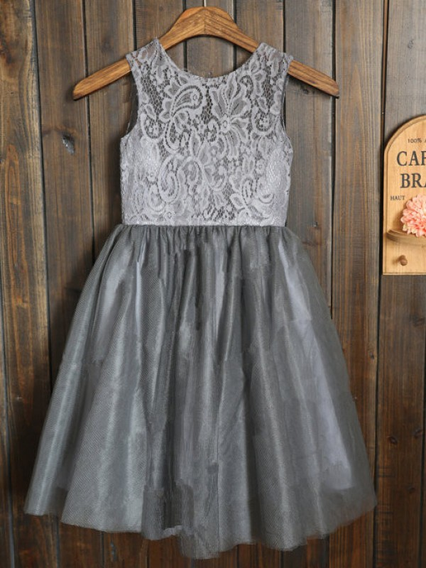 Silver Scoop Tulle Tea-Length Flower Girl Dresses