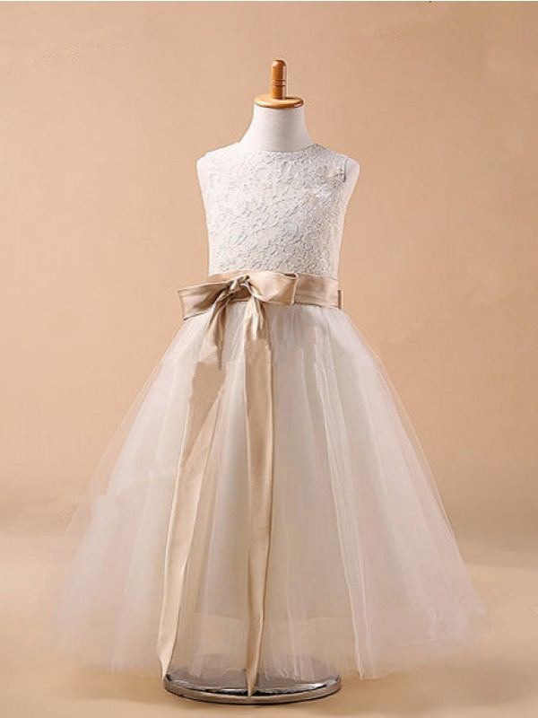 Jewel Tea-Length White Flower Girl Dresses with Bowknot
