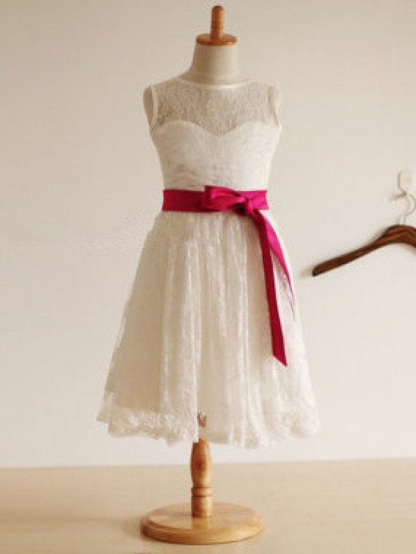 A-Line Lace Jewel Tea-Length White Flower Girl Dresses